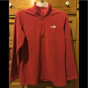 The North Face fleece red zip up pullover